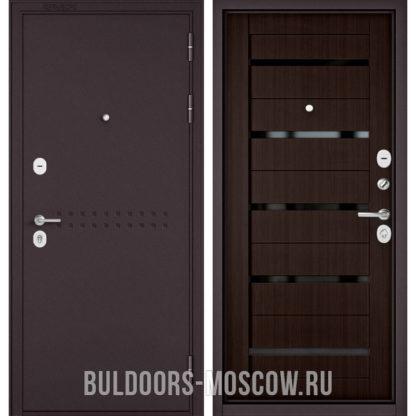 Входная металлическая дверь с черным стеклом Бульдорс Mass-90 Букле шоколад R-4/Ларче шоколад CR-3