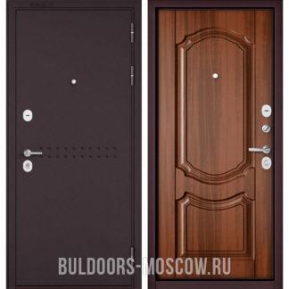 Металлическая входная дверь Бульдорс Mass-90 Букле шоколад R-4/Орех лесной 9SD-4