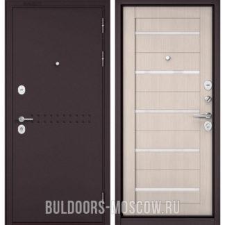 Стальная дверь с белым стеклом Бульдорс Mass-90 Букле шоколад R-4/Ларче Бьянко CR-3
