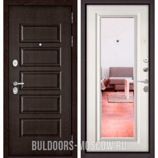 Входная дверь с зеркалом Бульдорс Mass-90 Ларче шоколад 9S-108/Белый софт 9P-140