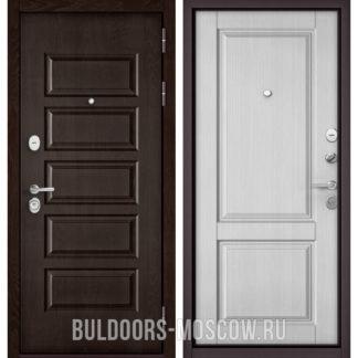 Стальная дверь Бульдорс Mass-90 Ларче шоколад 9S-108/Дуб белый матовый 9SD-1
