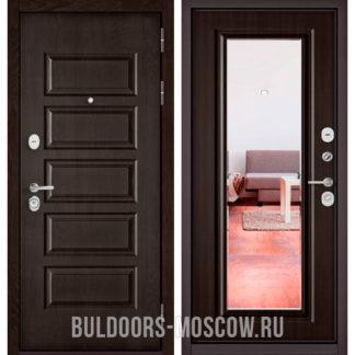 Железная входная дверь с зеркалом Бульдорс Mass-90 Ларче шоколад 9S-108/Ларче шоколад 9P-140