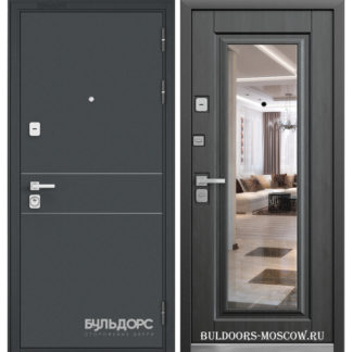 Стальная дверь с зеркалом Бульдорс PREMIUM-90 Черный шелк D-14/Ларче темный 9P-140