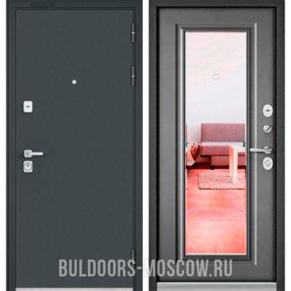 Металлическая дверь Бульдорс Премиум-90 Черный шелк/Бетон серый 9P-140 с зеркалом
