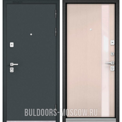 Металлическая дверь со стеклом Бульдорс PREMIUM-90 Черный шелк/Дуб светлый матовый Si-3