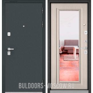 Стальная дверь Бульдорс PREMIUM-90 Черный шелк/Ларче бьянко 9P-140 с зеркалом