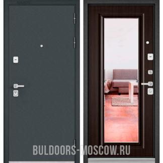 Железная дверь Бульдорс Премиум-90 Черный шелк/Ларче шоколад 9P-140 с зеркалом