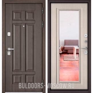Железная дверь для квартиры с зеркалом Бульдорс PREMIUM-90 Дуб шале серебро 9Р-115/Ларче бьянко 9P-140