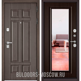 Стальная входная дверь с зеркалом Бульдорс PREMIUM-90 Дуб шале серебро 9Р-115/Ларче темный 9P-140