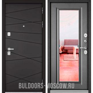 Металлическая дверь с зеркалом Бульдорс Премиум-90 Графит софт 9Р-130/Бетон серый 9P-140