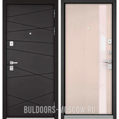Стальная дверь со стеклом Бульдорс Премиум-90 Графит софт 9Р-130/Дуб светлый матовый Si-3