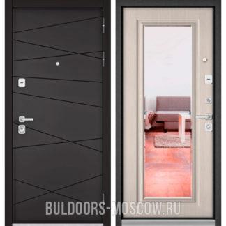 Металлическая входная дверь с зеркалом Бульдорс PREMIUM-90 Графит софт 9Р-130/Ларче бьянко 9P-140
