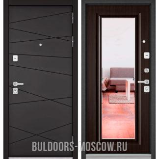 Входная дверь Бульдорс Премиум-90 Графит софт 9Р-130/Ларче шоколад 9P-140 с зеркалом