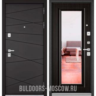 Стальная дверь с зеркалом Бульдорс PREMIUM-90 Графит софт 9Р-130/Ларче темный 9P-140