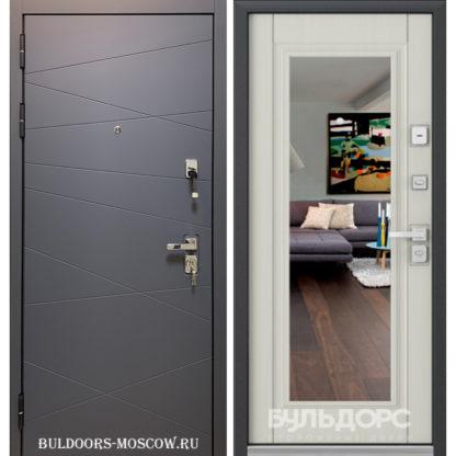 Металлическая входная дверь с зеркалом Бульдорс PREMIUM-90 Графит софт 9Р-130/Ларче бьянко 9P-140, mirror