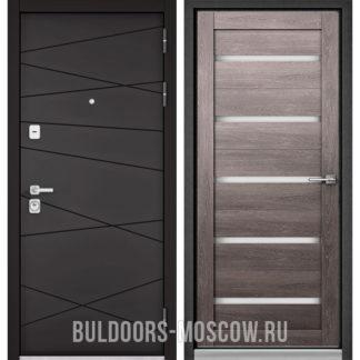 Железная дверь Бульдорс PREMIUM-90 Графит софт 9Р-130/Дуб дымчатый CR-3 со стеклом