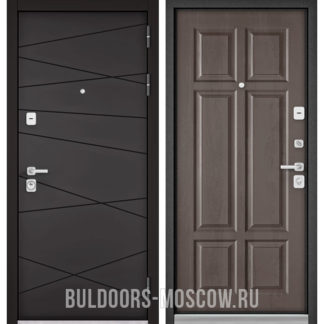 Стальная дверь Бульдорс Премиум-90 Графит софт 9Р-130/Дуб шале серебро 9P-109