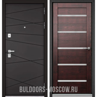 Стальная входная дверь Бульдорс Премиум-90 Графит софт 9Р-130/Дуб темный CR-3 со стеклом