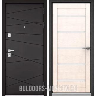 Металлическая дверь со стеклом Бульдорс PREMIUM-90 Графит софт 9Р-130/Дуб жемчужный CR-3