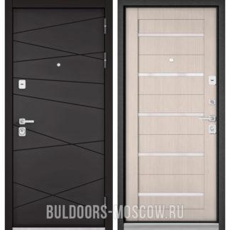 Входная дверь со стеклом Бульдорс PREMIUM-90 Графит софт 9Р-130/Ларче Бьянко CR-3