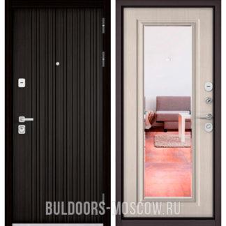 Входная металлическая дверь с зеркалом Бульдорс PREMIUM-90 Ларче темный 9Р-131/Ларче бьянко 9P-140