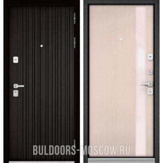 Металлическая дверь со стеклом Бульдорс PREMIUM-90 Ларче темный 9Р-131/Дуб светлый матовый Si-3