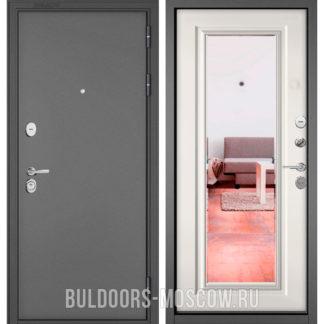 Стальная дверь Бульдорс STANDART-90 Букле графит/Белый софт 9P-140 с зеркалом