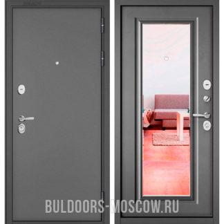 Стальная дверь Бульдорс Стандарт-90 Букле графит/Бетон серый 9P-140 с зеркалом