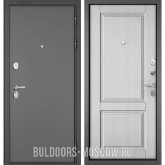 Металлическая дверь Бульдорс STANDART-90 Букле графит/Дуб белый матовый 9SD-1