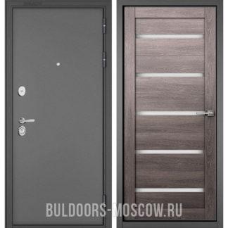 Стальная дверь со стеклом Бульдорс Стандарт-90 Букле графит/Дуб дымчатый CR-3