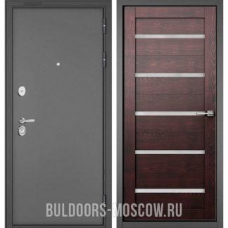 Железная дверь со стеклом Бульдорс Стандарт-90 Букле графит/Дуб темный CR-3