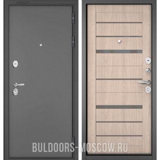 Железная дверь со стеклом Бульдорс STANDART-90 Букле графит/Ясень ривьера Айс CR-1