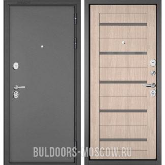 Металлическая дверь Бульдорс Стандарт-90 Букле графит/Ясень ривьера Айс CR-3 со стеклом