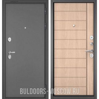 Металлическая входная дверь Бульдорс STANDART-90 Букле графит/Ясень ривьера крем 9S-136