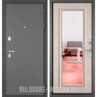 Металлическая дверь с зеркалом Бульдорс Стандарт-90 Букле графит/Ларче бьянко 9P-140