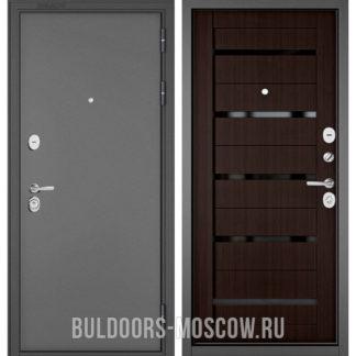 Входная дверь с черным стеклом Бульдорс Стандарт-90 Букле графит/Ларче шоколад CR-3