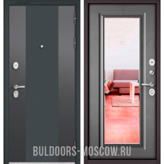Входная дверь с зеркалом Бульдорс СТАНДАРТ-90 Черный шелк 9К-4/Бетон серый 9P-140