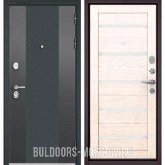 Входная дверь со стеклом Бульдорс STANDART-90 Черный шелк 9К-4/Дуб жемчужный CR-3