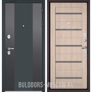 Входная дверь Бульдорс СТАНДАРТ-90 Черный шелк 9К-4/Ясень ривьера Айс CR-3 со стеклом