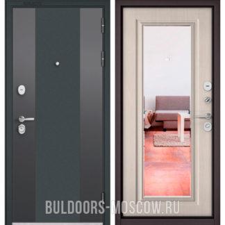Входная дверь с зеркалом Бульдорс STANDART-90 Черный шелк 9К-4/Ларче бьянко 9P-140 mirror
