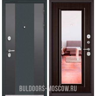 Заказать железную дверь с зеркалом Бульдорс STANDART-90 Черный шелк 9К-4/Ларче шоколад 9P-140 mirror