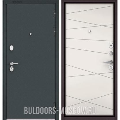 Металлическая входная дверь Бульдорс СТАНДАРТ-90 Черный шелк/Белый софт 9S-130