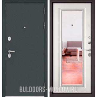 Железная дверь с зеркалом Бульдорс STANDART-90 Черный шелк/Белый софт 9P-140