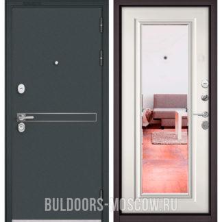 Металлическая дверь Бульдорс Стандарт-90 Черный шелк D-4/Белый софт 9P-140 с зеркалом