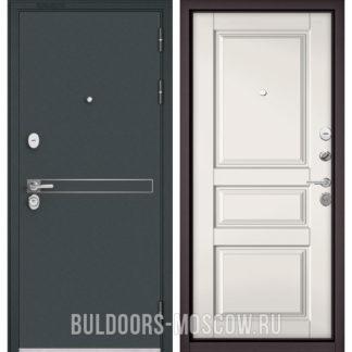 Стальная дверь Бульдорс STANDART-90 Черный шелк D-4/Белый софт 9SD-2