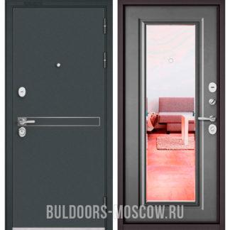 Входная железная дверь с зеркалом Бульдорс СТАНДАРТ-90 Черный шелк D-4/Бетон серый 9P-140