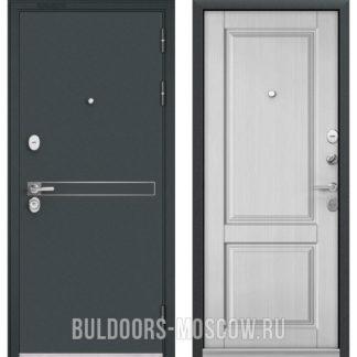 Входная металлическая дверь Бульдорс STANDART-90 Черный шелк D-4/Дуб белый матовый 9SD-1