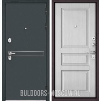 Заказать входную стальную дверь Бульдорс STANDART-90 Черный шелк D-4/Дуб белый матовый 9SD-2