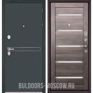 Металлическая входная дверь со стеклом Бульдорс STANDART-90 Черный шелк D-4/Дуб дымчатый CR-3