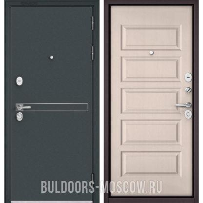 Железная входная дверь Бульдорс STANDART-90 Черный шелк D-4/Дуб светлый матовый 9S-108